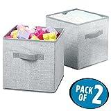 mDesign Set da 2 capienti ceste portagiochi – Pratiche scatole per armadi versatili e salvaspazio – grigio