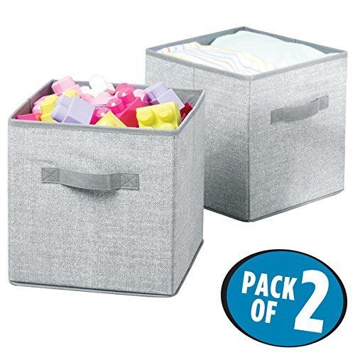 mDesign Juego de 2 cajas para almacenar juguetes – Cajas de tela cuadradas para la habitación infantil y el dormitorio – Cestas de juguetes con asas fabricadas con polipropileno transpirable – gris