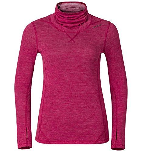 Odlo Damen Revolution Warm Baselayer Shirt Turtleneck T, Sangria Melange, XS - Melange Turtleneck