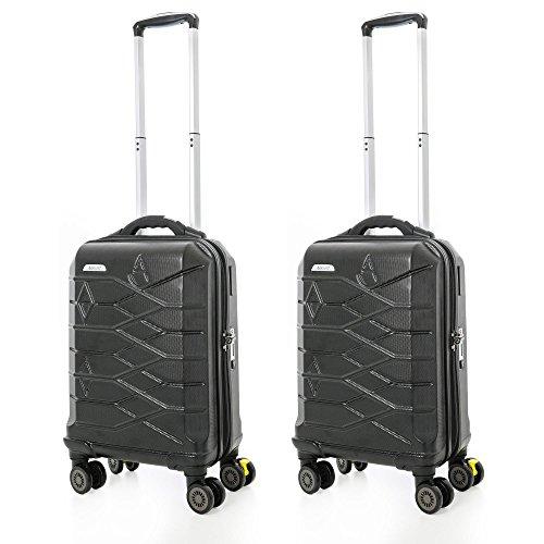 Aerolite SMART Koffer mit USB Port zum Laden, Bluetooth TSA Schloss, eingebauter Gepäckwaage & Bremse für iOS & Android , ABS Hartschale Bordgepäck Handgepäck Trolley Koffer Gepäck