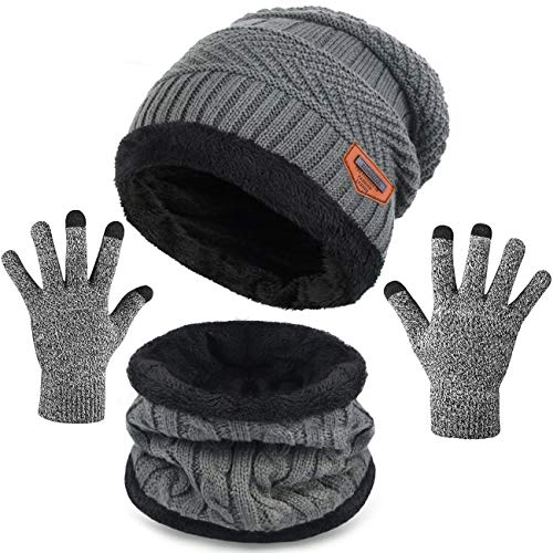 Petrunup Knit Beanie Hat Scarf Gloves für Herren Damen Fleece Beanie + Neck Warmer + Texting Gloves Grau
