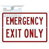bienternary Placa Decorativa de Aluminio con el Texto en inglés Emergency Exit Only Aluminum Sign Metal Signs Vintage Road Signs Tin Plates Signs
