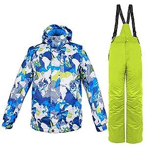 Mr. Right Herren Skianzug Skijacke + Skihose Winter wasserdichte Schneeanzug Snowboardanzug Ski Jacke und Hose Set mit Kapuze