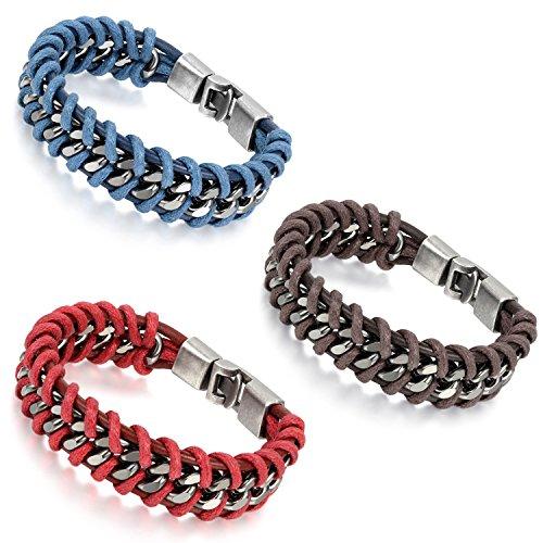 Flongo Bracelet Alliage Cuir Lien Poignet Tissu Tressé Motard Biker Fantaisie Bijoux Cadeau pour Homme (couleur optionnel ) brun/bleu/rouge;3pcs