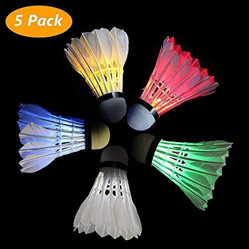 n Federbälle, LED Sport Training Badminton Bälle Federball Dark Night Glow Birdies Beleuchtung für Outdoor Indoor Aktivitäten, 5St ()