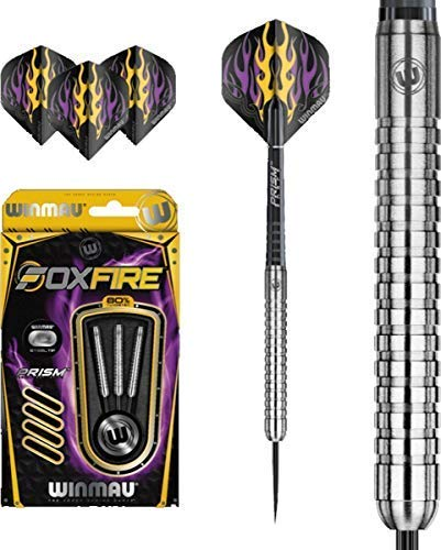 Winmau Foxfire 80% Wolfram Legierung Stahl Spitzen Darts Set 23g (Foxfire 3)