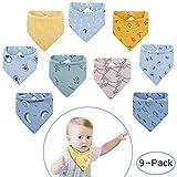 Viedouce Baby Dreieckstuch Lätzchen mit 2 Verstellbares Druckknopf,100% Bio-Baumwolle,Weiche & Absorbierende,Baby Halstücher Drool Lätzchen für Jungen Mädchen (Farbe-02, 9 Packs)