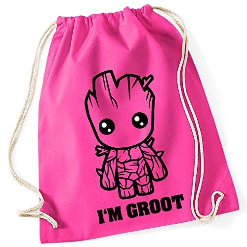 Guardians of the Galaxy Comic GROOT / Turnbeutel mit Fun Motiv Aufdruck / Rucksack GYM Jutebeutel / Ideales Geschenk, Color:Fuchsia (Pink) - (Schule Kostüme Nerd)