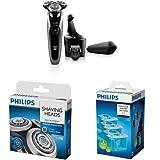 Pack Philips Rasoir électrique Series 9000 avec tondeuse et Système SmartClean + 3 cartouches SmartClean et têtes de rasoir S9000 de rechange