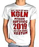 Artdiktat Herren T-Shirt | Das ist Mein Köln Mission Aufstieg 2019 | Ich Bin Dabei Kostüm | Fasching Karneval Fussball Größe L, weiß