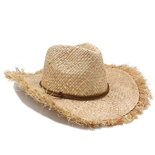 Junjiagao Reine Handarbeit Sombrero Cap Sommer Frauen Männer Raffia Stroh Cowboy Hut Für Herr Breiter Krempe Boater Panama Jazz Hüte (Farbe : 1, Größe : 56-58cm) (Herren-stroh-boater Hut)