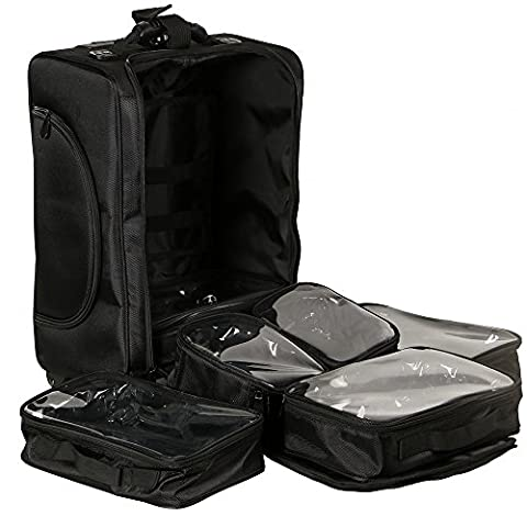 UNHO® Beauty Case Trolley Maquillage Valise Maquillage Professionnel Malette Coiffure Boîte à Maquillage Nylon Makeup Trolley Artist Cosmetic Train Case