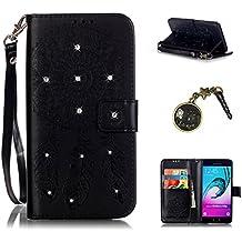 PU Cuir Coque Strass Case Etui Coque étui de portefeuille protection Coque Case Cas Cuir Swag Pour Samsung Galaxy A5 (2016) A510F A5100+Bouchons de poussière (8JA)