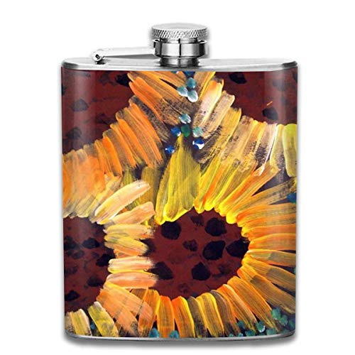 Stainless Steel Flask Perfect Hand-Painted Sunflowers Stainless Steel Hip Flask 7 OZ - Sneak Alcohol Anywhere for Man,Woman -