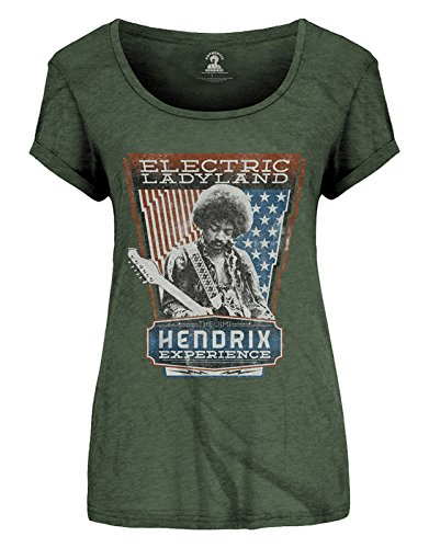 Jimi Hendrix T Shirt Electric Ladyland offiziell Damen Roll Sleeve Skinny Fit -