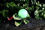 Lámpara led solar rana - 21 cm x 13 cm, apto para exteriores, metal lacado y una bola de...