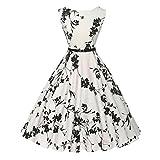 Deman Kleider Rcool Deman Elegant Audrey Hepburn Kleid Langarm A-Linie mit Blumendruck U-Ausschnitt Partykleider Cocktailkleid Printkleid Knielang Gr.S-2XL (Blumen-Weiß, M/35)