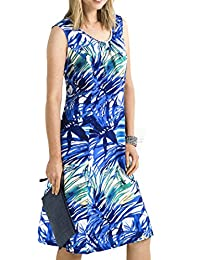 TopsandDresses Clearance Women's Linen Mix Sleeveless Summer Dress With PearlS in Blue or Pink In UK Plus Sizes 6-36