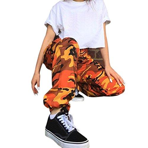 Flare Cordhose (Damenhosen URSING Mode Frauen Sporthosen Tarnung gedruckt Jeans Sport Camo Cargo Harem Hosen Leichte Sommerhosen Outdoor Lässige Camouflage Freizeit Hose (S, Orange))