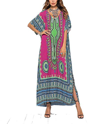 Frauen weichen afrikanischen Print Kleid Robe vertuschen ethnischen Stil Strand Kleid Rock Dashiki Print Kaftan Badeanzug Maxikleid (Rose rot)