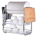 Soporte para platos para escurridor, tendedero de platos de acero inoxidable, cortador de cubiertos,...