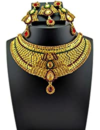 Trendest Fashion Jewellery Gold Plated Necklace Set For Women