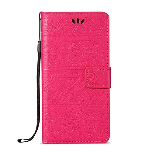 Für Samsung Galaxy A5 2016 Premium Leder Schutzhülle, weiche PU / TPU geprägte Textur Horizontale Flip Stand Case Cover mit Lanyard & Card Cash Holder ( Color : Brown ) Red