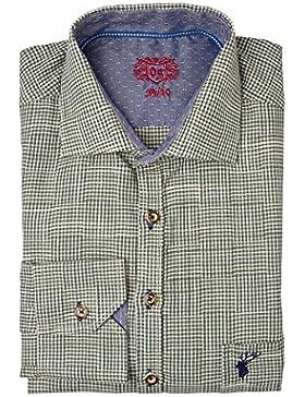 OS Trachten Herren Trachtenhemd Langarm Dunkelgrün Karo Theo 002098 - Slimfit