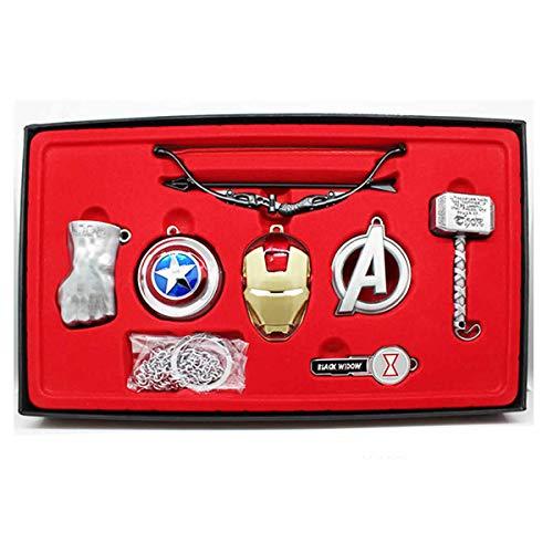 hcoser Superheld Schlüsselkette Thanos Handschuhe Iron Man Thor Mjolnir Pfeil und Bogen 7pcs Cosplay Kollektion