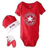 Converse Babykleidung Set Erstausstattung Baby Geschenkset Body Strampler Mütze Socken 3er Gift Set Rot Gr. 0-6 Monate
