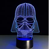 Star Wars Darth Vader Mask Dark Warrior 3D Illusion Lamp With 7 Colors Change And Flashing Effect Night Lamp Table Lamp USB Charging