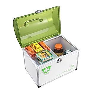 AZDENT Portable Medicine Container Emergency Medicine Cabinet Green (Double Layer)