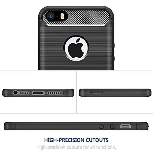 [Neue Version]iPhone SE Hülle Schwarz,Simpeak Premium Weiche Karbonfaser Elastisch Schützendes Rückseiten-Case für iPhone SE 5S 5[Fallschutz] [Rutschfest] [Kratzfest] Schwarz
