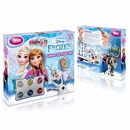 Disney Frozen Glitter Tattoo Maxi Kit 24 Amazing Schablonen – Hypoallergen, ohne Tierversuche hergestellt – für 8–18 Tage, temporäre ()