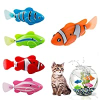 Hcpet Cat Interactive Toy,5PCS Cat Toys Electric Artificial Moving Fishes Cat Teasing Toy Kitten Toys (Color A)
