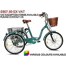 """Jorvik 24""""estilo eléctrico triciclo 36V 250W adultos triciclo/triciclo con discapacidad/carga/E-Varios colores disponibles, Black Dutch"""