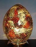 Lampada da tavolo in bronzo e vetro a mosaico a forma di uovo