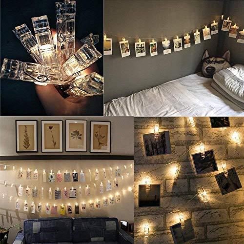 Catena di luci natalizie con 20 clip per foto, illuminazione d'atmosfera, luce fissa a forma di stella, funzionamento a batteria