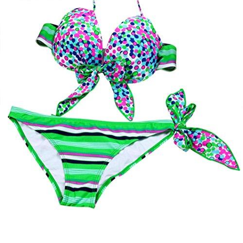 Bikini Damen Push Up, LHWY Vintage Bikini Strips Bandage Schwimmen Bademode Beachwear Frauen Bikini Underwire sammeln zusammen BH Dots Decor (S, Grün) (Fischnetz Dot)