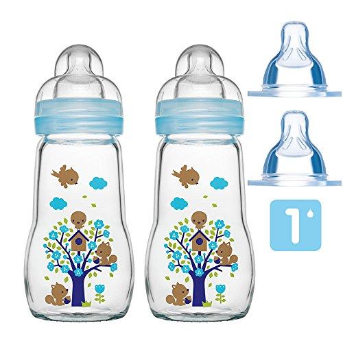 MAM Glas Flaschen Set Feel Good ab Geburt 2 x 260 ml inkl. 4 Seiden Sauger