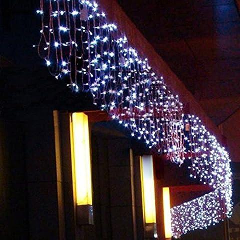 8 Modes 10m x 1,5m avec 480 leds Guirlande lumineuse LED feux clignotants de chaîne filet féerique éclairage Décoration lumières de rideau pour festival Noël mariage bar nouvel an et décoratif (Blanc)