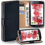 moex Samsung Galaxy S4 Mini | Hülle Schwarz mit Karten-Fach 360° Book Klapp-Hülle Handytasche Kunst-Leder Handyhülle für Samsung Galaxy S4 Mini Case Flip Cover Schutzhülle Tasche