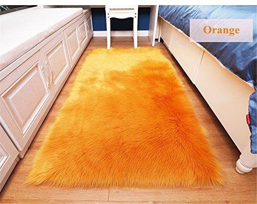 Orange 8x10 Bereich (flauschig Home Super Weiche Kunstfell Fake Pelz Sofa Couch Hocker Casper Vanity Stuhl Bezug/solid Shaggy Teppich Bereich Teppiche für Living Schlafzimmer Boden, Orange, 8x10ft Large Living Room Carpet)