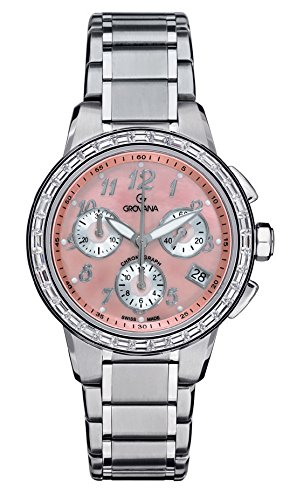 GROVANA 5094.9738 Unisex Quartz Swiss Watch with Pink Dial Chronograph Display and Silver Stainless Steel Bracelet