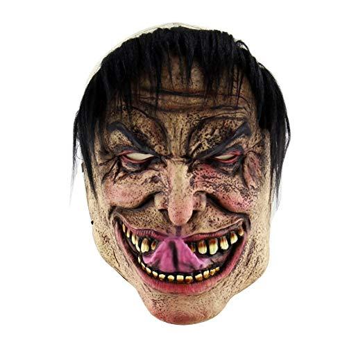 Für Kostüm Erwachsene Gangsta - Mmhot-mj Horror Masken Halloween Maskerade Karneval Party Scary Kopf Maske Cosplay Kostüm Zubehör Gesicht for Erwachsene/Alte Mann Maske Mit Haar (Farbe : F)