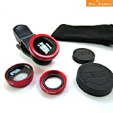 Act Universal 3 in 1 Mobile Phone Camera Lens Kit 180 Degree Fish Eye Lens + 2 in 1 Micro Lens + Super Wide Angle Lens for iPhone 6 Plus 5 5S 4S 4 iPad mini iPad 4 3 2 Samsung Galaxy S4 S3 S2 Note 4 3 2 1 Sony HTC Blackberry Smart phones (Red)