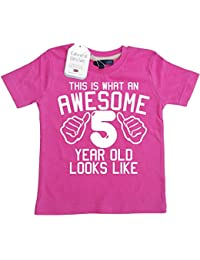 Edward Sinclair This What AN Awesome 5 Year Old Looks Like Bubblegum Pink Girls 5th Birthday T-Shirt In Size 5-6 Years With A White Glitter Print