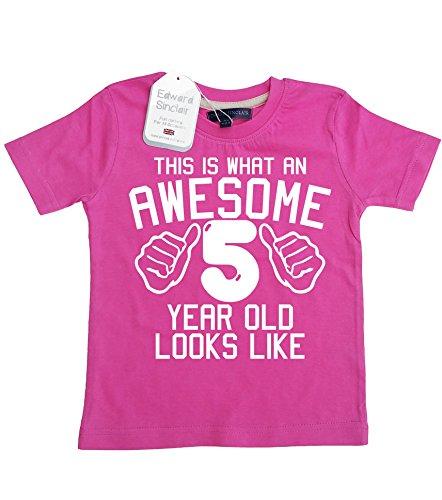 e 5 Jahre alt, sieht aus wie Bubblegum Pink 5. Geburtstag, Mädchen-T-shirt, Gr. 116-122, Weiß, 1 Stück ()