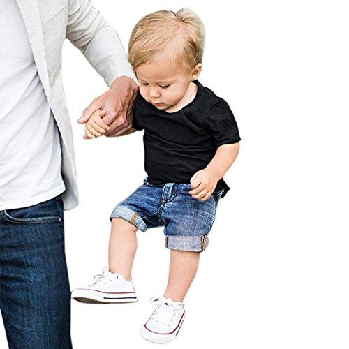 Kinderkleidung Jungen,Binggong 2 Stücke Kleinkind Kinder Baby Jungen Outfit Kleidung T-Shirt Tops + Denim Shorts Hosen 1 Satz Sexy Bluse Elegant Tops Shirt (80, Schwarz) Neugeborene Mädchen Kurze Sätze