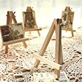 Trillycoler 10pcs Artista Madera Mini Caballete Triángulo Boda Mesa Soporte Pantalla Titular